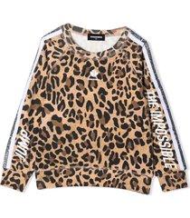 dsquared2 brown cotton blend sweatshirt