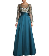 embroidered floral ball gown