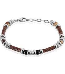 bracciale in acciaio, pelle marrone e pietre bicolore per uomo