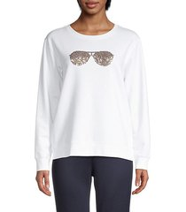 sequin sunglasses sweatshirt