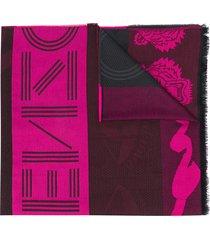 kenzo frayed tiger scarf - pink