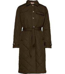 stinna quilt coat doorgestikte jas groen soft rebels