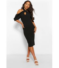 draped shoulder halterneck midi dress, black