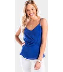 audri side tie tank top - blue