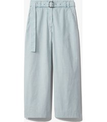 proenza schouler white label belted washed cotton pants seal grey/blue 8