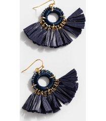 poppy raffia tassel drop earrings - navy