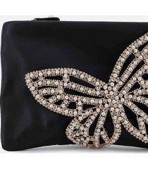sophia webster women's flossy crystal clutch bag - black & pearl