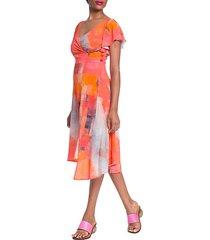 side-button asymmetrical surplice dress