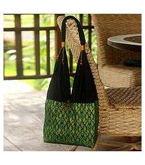 cotton sling tote bag, 'thai emerald' (thailand)