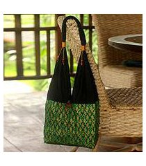 cotton sling tote bag, 'thai emerald' (thailand)