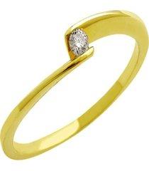 anel solitário semijoia banho de ouro 18k cravação de zircônias
