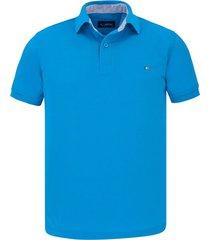 camiseta tipo polo azul turquesa hamer bordada