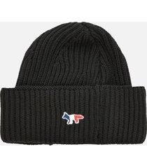 maison kitsuné men's tricolor fox patch ribbed hat - black