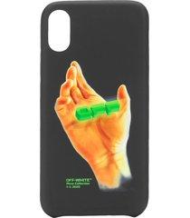 off-white hand print iphone xs case - black
