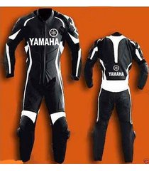 black yamaha motorcycle mens leather suit racing cowhide one piece all size