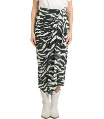 isabel marant fabiana wrapped longuette skirt in zebra print