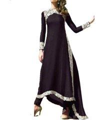 zanzea moda mujer boho maxi vestido de fiesta encaje crochet primavera manga larga vintage dobladillo irregular playa vestidos largos vestidos -negro