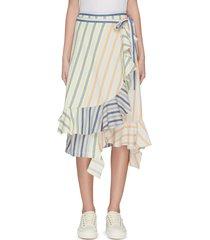 'parasol' ruffle stripe wrap skirt
