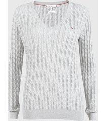 sweater tommy hilfiger gris - calce ajustado