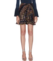 stripe sequin embellished flare hem mini skirt