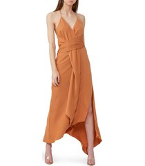 women's significant other elusive asymmetrical halter midi dress, size 10 - brown