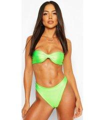 neon knotted bandeau bikini, neon-green