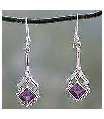 amethyst dangle earrings, 'modern jaipur' (india)