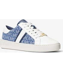 mk sneaker keaton in pelle e logo jacquard - denim (blu) - michael kors