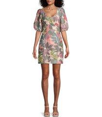 parker women's cammie leaf-print puff-sleeve dress - green multi - size 0