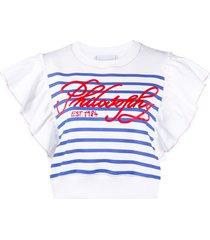 philosophy di lorenzo serafini ruffle-trimmed breton stripe sweatshirt