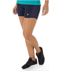 shorts asics workout stretch - feminino - azul esc mescla