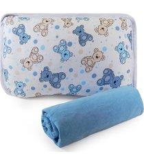 jogo de cama berã§o em malha 2 peã§as -  urso azul, - azul - menino - dafiti