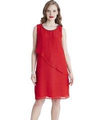 vestido sin mangas con capa frontal coral lorenzo di pontti