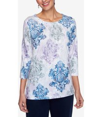 alfred dunner petite printed studded top