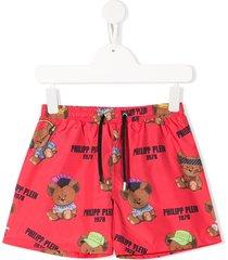philipp plein teddy logo print swim shorts - red
