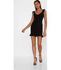 womens it's tie to go ruffle mini dress - black