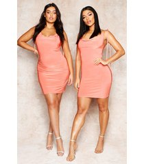 cowl neck tie strap detail mini dress, coral