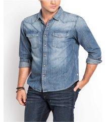 men's slim western denim shirt