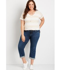 plus size jeans silver jeans co.® womens suki dark wash capri blue denim - maurices