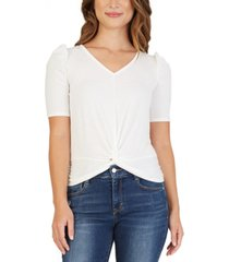 bcx juniors' crochet-back ruched-sleeve top