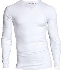 garage basis t-shirt v-hals lange mouw semi bodyfit wit