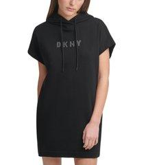dkny sport women's rhinestone logo hooded dress