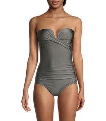 calvin klein women's split cup bandeau one-piece swimsuit - dark slate - size 12
