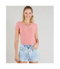 camiseta flamê de algodão básica manga curta decote v rosê