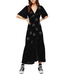 women's topshop angel sleeve star print maxi dress