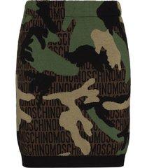 moschino camouflage logo-print knit mini skirt - green