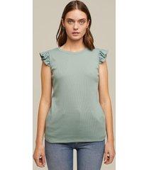 camiseta sin manga en rib con boleros en manga cuello redondo-xs