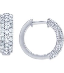 diamond pave small huggie hoop earrings (1 ct. t.w.) in 14k white gold, 3/5""