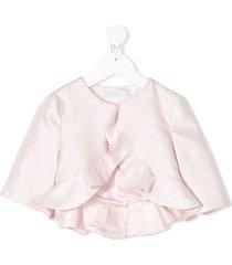 abel & lula fantasy jacquard ruffled jacket - pink