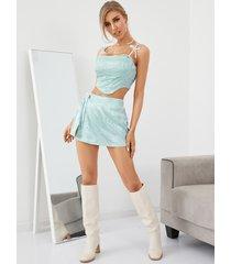 yoins jacquard criss-cross tie-up diseño conjunto de falda y top sin mangas